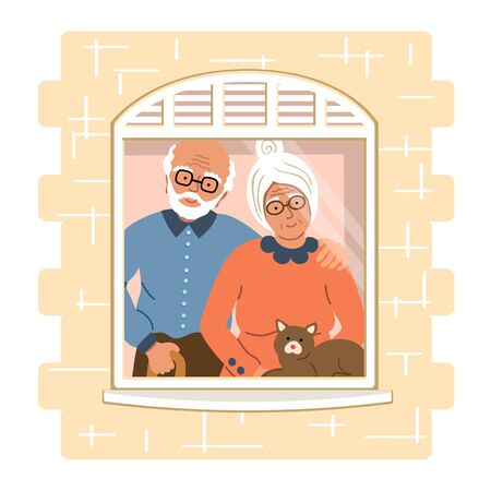 Family of aged people staying together by the window. Safety home concept. Happy people at home. Vector illustration drawing in flat style  Illustration