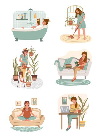 Set of pregnant women doing different home activities: working, studying, watering, cleaning, takes a bath, meditating, reading  in modern interior. Happy pregnancy concept. Vector flat illustration Illustration