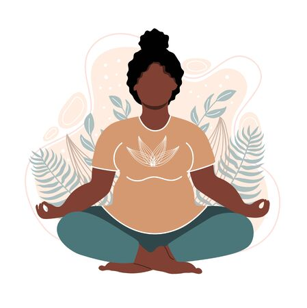 Plus size african american woman meditating and sitting in lotus on the natural background. Attractive overweight girl. Concept illustration for yoga, meditation, relax. Vector illustration in flat style