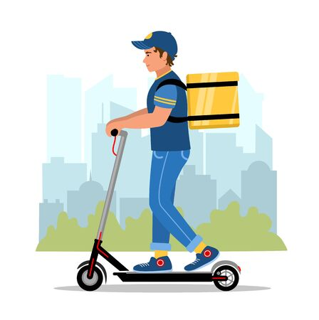 Safety motorized scooter delivery and service concept. Courier with a box on the city background. Delivery man character riding e scooter. Vector illustration in flat style.