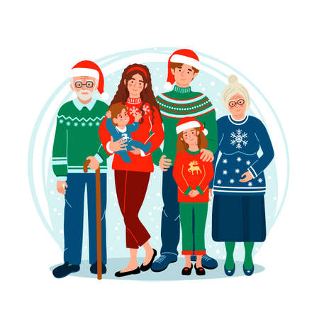 Happy Family at Christmas staying together. Kids with parents and grandparents. Cute vector illustration drawing in flat style.
