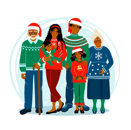 Happy african american family at Christmas staying together. Kids with parents and grandparents. Cute vector illustration drawing in flat style.