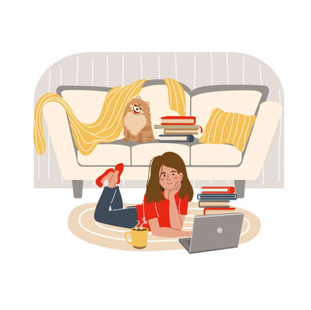 Young girl is lying on the floor with laptop at home. Online learning concept. People who study at home. Vector illustration in flat style.