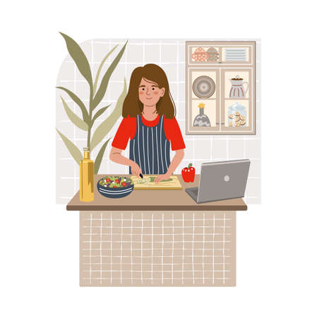 Smiling girl cooking salad on kitchen table using laptop. Female child preparing homemade meals. Vegetarian cuisine. Online cooking concept. Flat cartoon vector illustration.