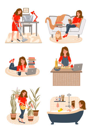 Set of young girl doing different home activities: cooking, studying, cleaning, watering flowers, cooking, takes a bath, reading a book in modern interior. Vector illustration in flat style