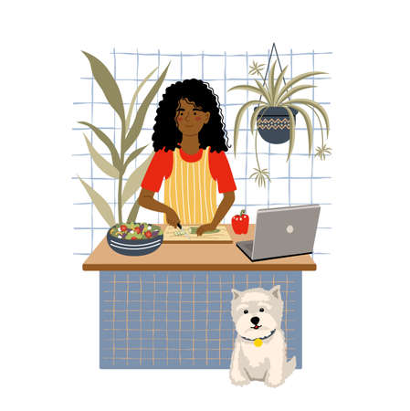 Smiling african american girl cooking salad on kitchen table using laptop. Female child preparing homemade meals. Vegetarian cuisine. Online cooking concept. Flat cartoon vector illustration.