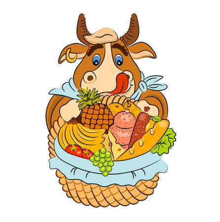 Cartoon licking bull with a basket of groceries. Vector illustration of funny animal. Symbol of 2021. Isolated on white.