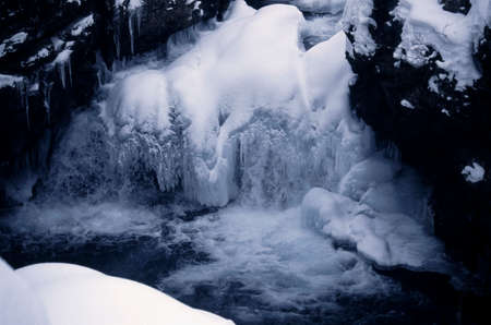 frost bound: Ice cave in the coldest time of the year Stock Photo