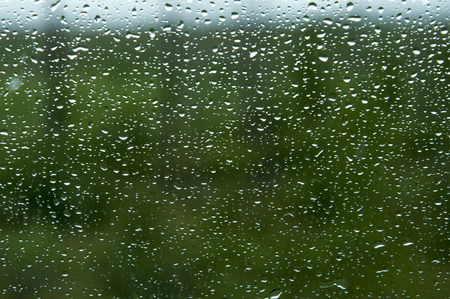 precipitation: Many small drops of the rain on the glass on green background
