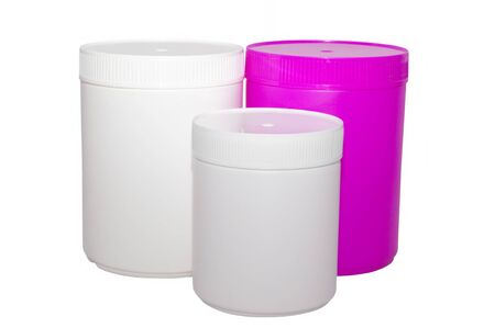 capacities: Set of three plastic capacities on a white background