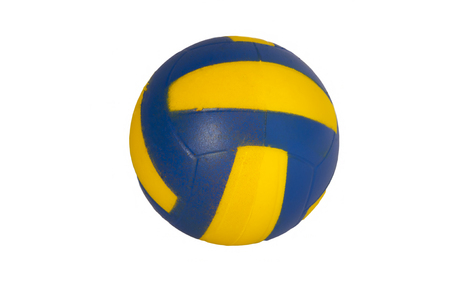 Toy soccerball of blue color with yellow strips on a white background Stock Photo