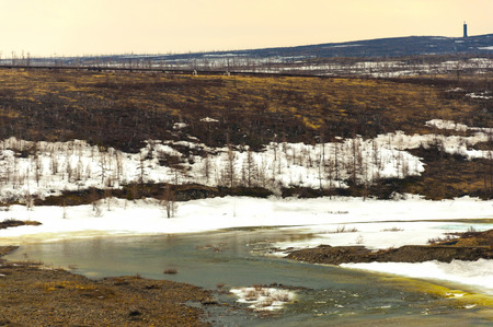 thawing: landscape, early spring and the thawing snow on the nature about the small river