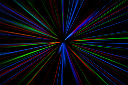 glowing lines of different colors diverge from the center to the edges, abstraction, background Stock Photo