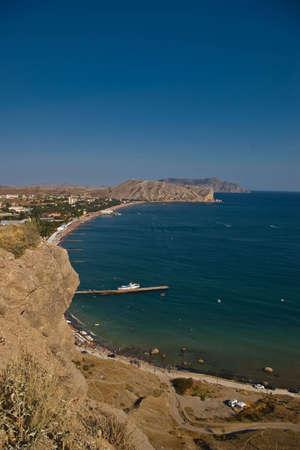 sudak: gulf coastline in Sudak, Crimea