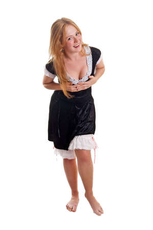 french maid: portrait of maid isolated of white Stock Photo
