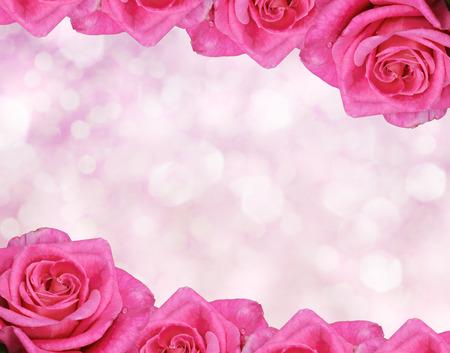 Floral frontière floue fond, fleurs rose