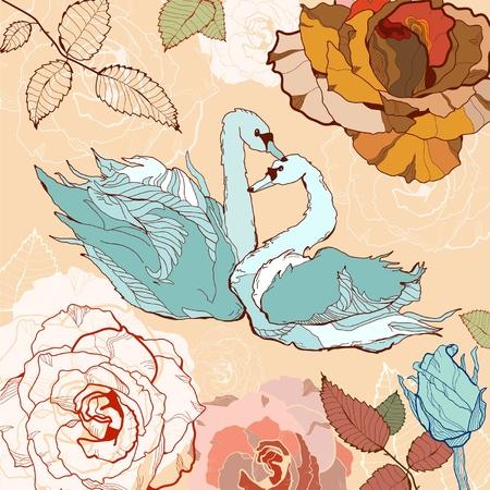 swans: Swans on a floral background Illustration