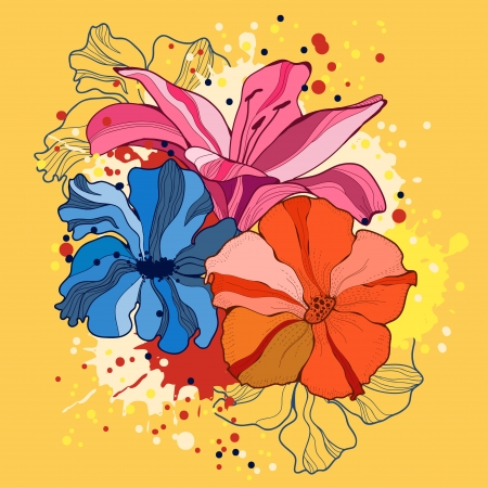 Vector illustration with flowers  Vector