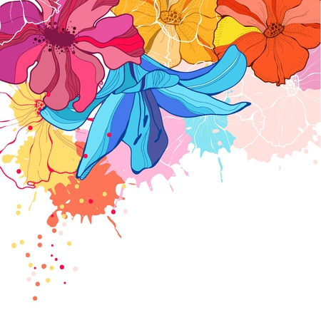 contemporary: Vector illustration with flowers