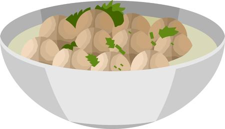 Meatball Food Vector Illustration