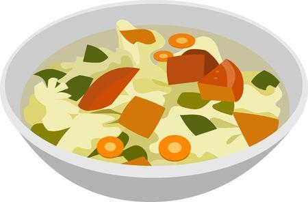 Vegetables Soup Food Vector Illustration