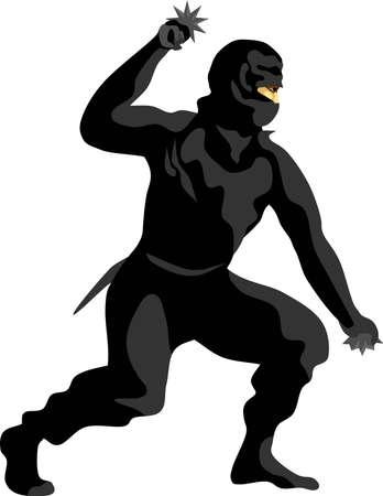 Ninja Ninjutsu Japan Traditional Martial Art Vector Illustration