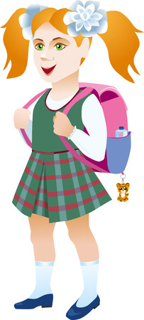 Schoolgirl with backpack on a white background