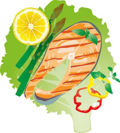 banger: bright juicy grilled fish on a lettuce leaf, illustration