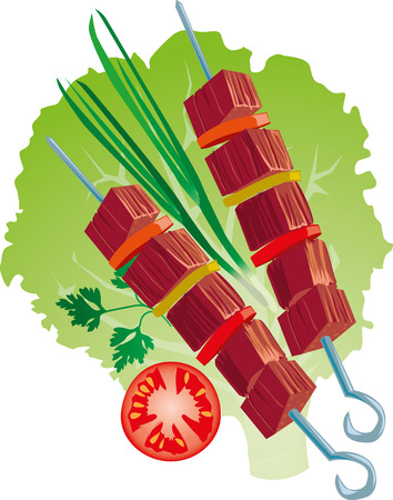 raw pork: bright juicy kebab illustration