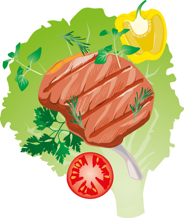 leaf lettuce: bright juicy grilled meat on the bone, on a lettuce leaf illustration