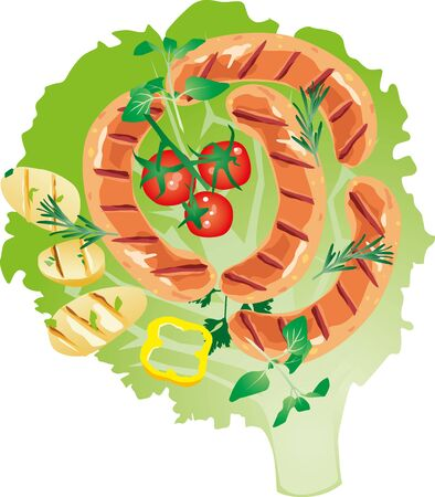 oregano: delicious grilled sausage on lettuce leaf with with tomato and grilled bread with oregano, parsley, rosemary