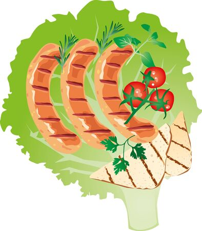 banger: delicious grilled sausage on lettuce leaf with with tomato and sweet pepper, potatoes, with oregano, parsley, rosemary
