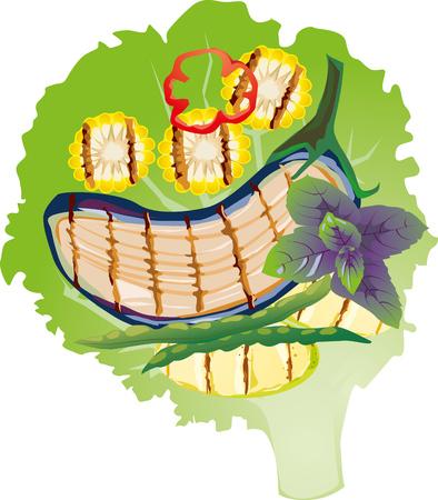 leaf lettuce: Grilled vegetables on a lettuce leaf, illustration