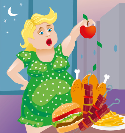 fat woman wants to lose weight, and eat only apples. But fatty foods tempt her