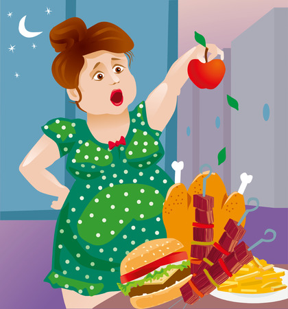 lose: fat woman wants to lose weight, and eat only apples. But fatty foods tempt her