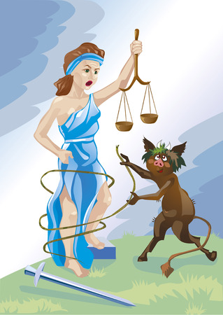 themis: The devil entangles Themis, goddess of justice lie networks