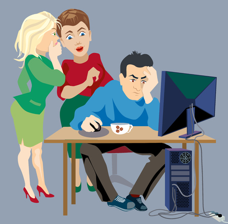 whispering: women gossip about a man sitting at a computer Illustration