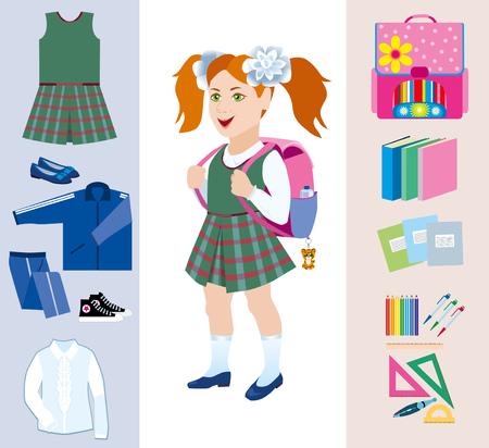 satchel: Schoolgirl with satchel behind and various school subjects Illustration
