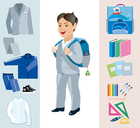 satchel: Schoolboy with satchel behind and various school subjects Illustration