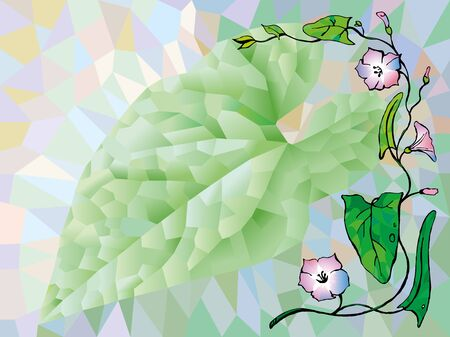 bindweed: background of the triangles with the image of leaf and flowers bindweed