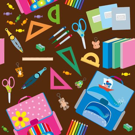 trinket: Back to School icons education seamless pattern Illustration