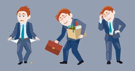 dismissed: set of sad businessman with empty pockets, dismissed and sorry