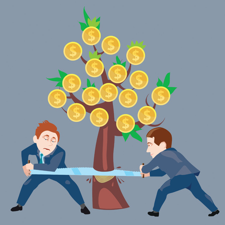 two people cut down a tree with a saw manual it growing dollars Illustration