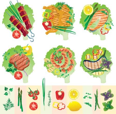 Set of grilled meat and vegetables Illustration