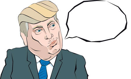 donald: Cartoon Portrait of Donald Trump says something Illustration