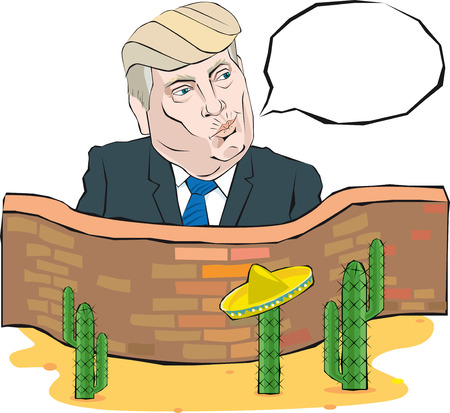 presidential: Cartoon Portrait of Donald Trump says something in front of a wall with Mexico Illustration