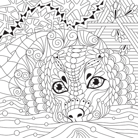 dog zentangle styled with clean lines for coloring book for anti stress, T - shirt design, tattoo and other decorations Vektoros illusztráció