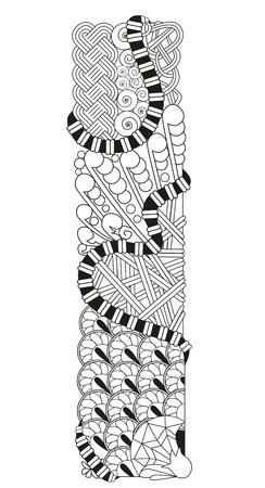 Letter i Zentangle. Vector decorative object