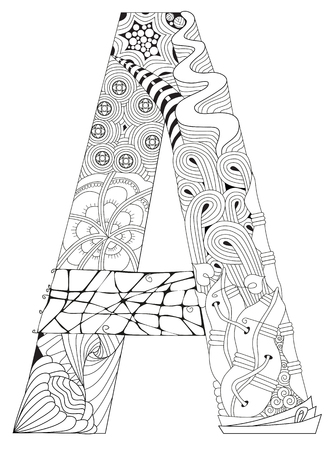 Letter A for coloring. Vector decorative pattern object. Vettoriali