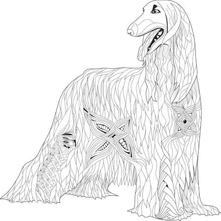 Zentangle stylized Afghan hound. Hand Drawn lace vector illustration